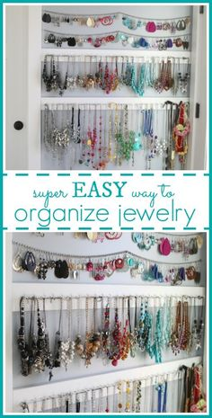 Simple Jewelry Organization idea, easy way to hang up all that jewelry and avoid a tangled mess! Romantic Home Decor, Classic Home Decor, Natural Home Decor, Hallway Decorating, Decorating Small Spaces, Entryway Decor, Home Decor Styles, Cheap Home Decor, Interior Simple