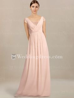 ebc9a535c21 Beautiful bridesmaid dress is crafted in Chiffon and Lace. Deep V-neckline  is covered