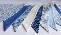 Floral blue bunting for hire, white and cream fabric flags, blue wedding decor, marquee decoration, wedding party Marquee Decoration, Blue Bunting, Wedding Bunting, Floral Fabric, Easy Peasy, Flags, Fabric Design, Contemporary, This Or That Questions