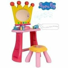Princess Peppa Pig's Dressing Table by HTI. $119.99. Princess Peppa Pig's Dressing Table with Peppa theme tune and more.. This beautiful Princess Peppa Pig dressing table and stool is perfect for your own little princess. Provided with lots of accessories, including a comb and battery operated hair dryer, your little lady can sit in front of the bright, crown shaped, light up mirror and glam themselves up ready to make their grand entrance. As well as the colourful lights, ...