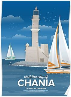 'The Egyptian Lighthouse, Chania (GR)' Poster by fnk-creative Poster Retro, Poster Poster, Minimal Travel, Minimalist Book, Tourism Poster, Railway Posters, Art Deco Posters, Retro Advertising, Minimal Poster
