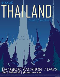 Thailand. Love these vintage travel posters.