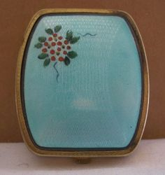 small EXQUISITE Guilloche ENAMEL Compact OLD Incredible TREASURE w/ HANDPAINTING