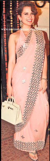 Gota patti - pink - idea to attach brocade/sequin lace to plain georgette saree