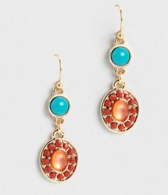 Pretty beads and rhinestones lend a splash of color to these chic oval earrings.