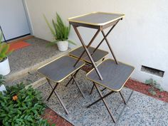 MID CENTURY MODERN Folding Tray Tables & Stand Set of 4 Los Angeles by HouseCandyLA, $149.00