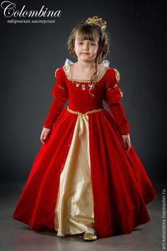 Купить Костюм королевы - ярко-красный, королева, костюм королевы, атлас, велюр