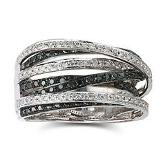18k White Gold and Black and White Diamond Ring from Borsheims