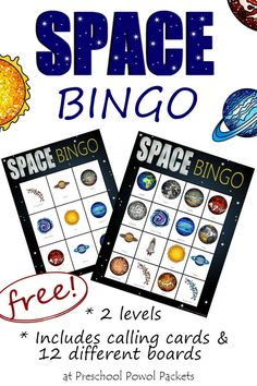 Fun! Space BINGO! Perfect for preschool, kindergarten, and elementary ages! Learn planet names, talk about our solar system, and more! {FREE}!!