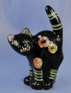 Fenton Glass MOON Black SCAREDY CAT Halloween 2009