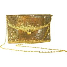 Vintage Whiting and Davis Gold-Tone Metallic Purse $145