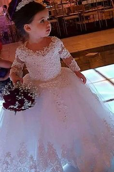 Wedding Dresses Ball Gown, Fashionable Tulle Jewel Neckline Ball Gown Flower Girl Dresses With Beaded Lace Appliques DressilyMe Kids Prom Dresses, Baby Girl Party Dresses, Sexy Wedding Dresses, Wedding Dress Sleeves, Long Sleeve Wedding, Cheap Wedding Dress, Ball Dresses, Designer Wedding Dresses, Dresses Dresses
