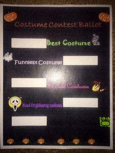 Costume contest ballot- It's hard to read the bottom one but it says Best Couples Costume