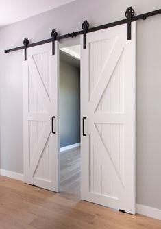 Custom designed and built barn sliding doors. Barn Door Designs, Unusual Homes, House Doors, Interior Barn Doors, House Layouts, Interior Design Studio, Sliding Doors, Home Remodeling, New Homes