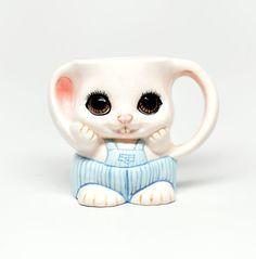 Vintage Ceramic Bunny Mug Some Bunny Loves Me Adorable by DabaDos