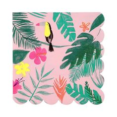 Create a tropical jungle scene at your party table with these delightful large party napkins illustrated in bright colors and finished with a scallop edge. Pack of Neon print detail. Size: x View the full Tropical Party collection here! Tropical Furniture, Tropical Home Decor, Tropical Interior, Tropical Party, Tropical Houses, Tropical Pool, Tropical Paradise, Motif Jungle, Jungle Pattern