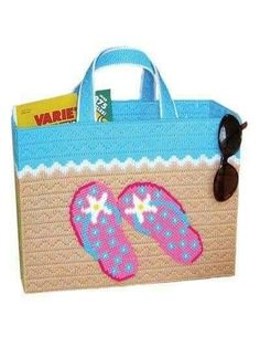 Plastic Canvas - Large enough to tote all your beach gear, this stylish bag is quick-to-stitch and features colorful flip-flops! Size: 13 x 10 x 5 excluding handles. Made with medium (worsted) weight yarn and plastic canvas. Plastic Canvas Stitches, Plastic Canvas Tissue Boxes, Plastic Canvas Crafts, Plastic Canvas Patterns, Plastic Sheets, Canvas Purse, Canvas Handbags, Canvas Tote Bags, Tote Handbags