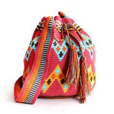 Wayuu Taya Handmade Bag - Pink & Light Blue