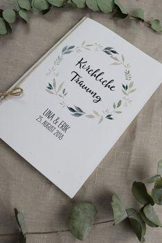 """Hochzeitskarten - Kirchenheft """"Natur-liebe"""" - ein Designerstück von Papiergold bei DaWanda"""