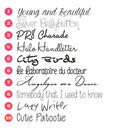 pink reptile designs: Handwritten Fonts  ~~ {10 Free fonts w/ easy download links}