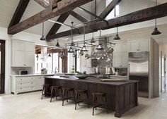 Brown Rustic Kitchen with Wooden Stools - Luxe Interiors + Design Kitchen And Bath, New Kitchen, Kitchen Layout, Texas Kitchen, Ranch Kitchen, Cozy Kitchen, Estilo Interior, Cuisines Design, Rustic Kitchen