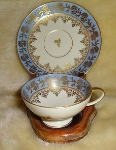 Vintage Beautiful ROSENTHAL  GERMANY Demitasse Tea Cup & Saucer With Gold Trim