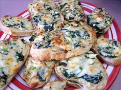 Garlic Bread Topped With Crab Meat And Spinach Recipe