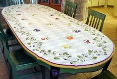 Dining table stenciled with fruit