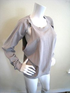 Cheap Monday Saunder Sweatshirt Cut-Out Cold Shoulder Grey M NWT $80 #CheapMonday #SweatshirtCrew