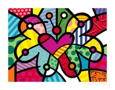 Heart Butterfly by Romero Britto Abstract Print Framed Art Prints, Fine Art Prints, Poster Prints, Art Papillon, Arte Country, Kunst Poster, Butterfly Frame, Henna Butterfly, Butterfly Outline
