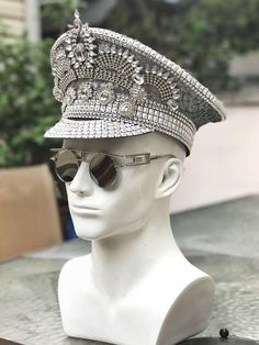 1ff353cbcc2bc  Crowning Glory  Military Hat in Silver. Burning Man Hat. Captain Hat