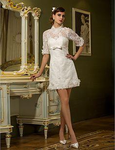 Sheath/Column High Neck Short/Mini Lace Wedding Dress - USD $ 127.99