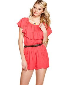 Sequin Hearts Romper, Short Sleeve Ruffled Belted