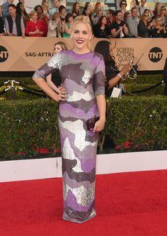 "Most Likely to Make You Rethink Camo: Busy Philipps     ""Busy Philipps might be my favorite person in the world right now. Her Instagram stories make my day (she's just so...real, for lack of a better word), and her '90s-style purple camo Jeffrey Dodd dress—which she rocked with a dark burgundy lip—made my SAG night. She then followed up that winning look with ridiculously cute bell-sleeves on Live With Kelly, and...gah! Busy, can I please come raid your closet?!"" 