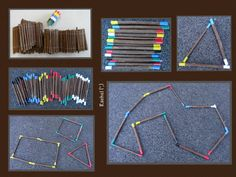 "Resources Maths sticks made with cheap sticks and electrical tape - from Rachel ("",)Maths sticks made with cheap sticks and electrical tape - from Rachel ("",) Maths Eyfs, Eyfs Classroom, Outdoor Classroom, Outdoor Education, Outdoor Learning, Eyfs Outdoor Area, Outdoor Fun, Waldorf Math, Counting Activities"