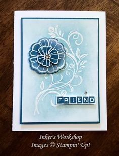 Blue On Blue Flourish using Falling Flowers and Labeler Alphabet from Stampin' Up! Inker's Workshop 2016