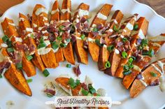 VEGAN - GLUTEN FREE - YUMMY!  Fully Loaded Sweet Potato Wedges with Bacon and Creamy Adobo Sauce   Real Healthy Recipes