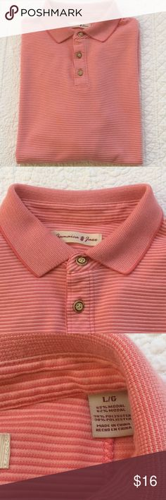 "Men's polo shirt by Jamaica Jaxx This polo shirt would be great to wear for a round of golf! Super breathable fabric. Size L. Armpit to armpit about 22 1/2"". Length from shoulder about 27 1/2"". Color is what I would call coral. Jamaica Jaxx Shirts Polos"