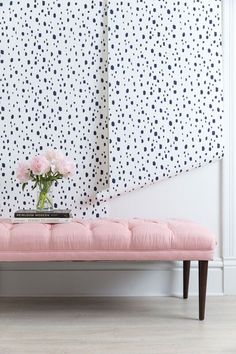 This abstract dalmation print in deep navy is an absolute stunner. It will give your room a unique, hand-painted feel while creating a neutral backdrop to pair with endless color schemes. Navy, blush,
