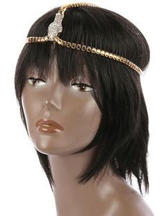 NYHGDCLR,HAIR ACCESSORY, PAVE CRYSTAL STONE SNAKE, STRETCH HEAD CHAIN, SNAKE CHAIN METAL, INCH LONG, NICKEL AND LEAD COMPLIANT,
