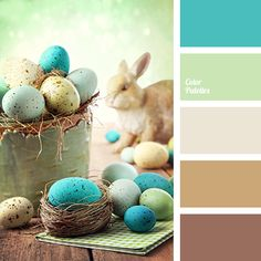 Delicate, spring colours will particularly decorate your festive table on a bright holiday - Easter. Use of turquoise, green and warm shades of brown for t.