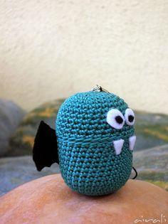 Amigurumi bat with kinder egg by airali_gray