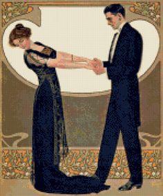 1911 Art Nouveau Edwardian Dancers Cross Stitch pattern PDF - Instant Download…
