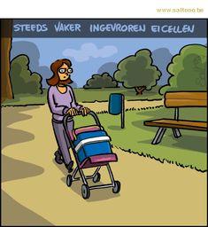 Thema van de cartoon op deze pagina: Steeds meer vrouwen laten hun eicellen invriezen, klik op de cartoon om naar de volgende te gaan