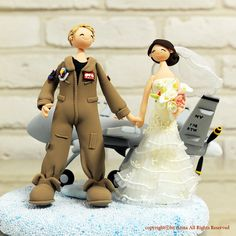 Air force pilot wedding cake topper  keepsake by @annakrafts #AirForce #military #wedding