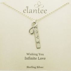 Elegant, aesthetic and inspirational charm necklace. A sterling silver hand stamped charm with the word Love. Over the Love charm is a sterling infinity symbol representing never ending eternal love. Mother Jewelry, Jewelry Quotes, Engraved Jewelry, Love Charms, Love Symbols, Birthstone Jewelry, Artisan Jewelry, Sterling Silver Pendants, Hand Stamped