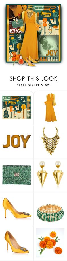 """""""Marigold Jazz"""" by franceseattle ❤ liked on Polyvore featuring Jazzberry Blue, Anya Hindmarch, Vita Fede, Manolo Blahnik, BaubleBar and Chloé"""