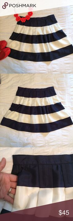 J.Crew Pleated Mini in Awning Stripe 83742 Adorable and flirty pleated mini skirt. Navy and white wide stripes are a classic combo. 100% silk, with polyester lining. Side seam pockets, side invisible zipper. Cute top stitching on pleats (see pocket picture). Like new- no signs of wear, no damage or stains. I LOVE this skirt, it just doesn't fit me or my closet anymore ☹️. J. Crew Skirts Mini