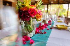 Tropical colors for a wedding! Wedding Decorations, Table Decorations, Wedding Centerpieces, Tropical Colors, Destination Wedding, Reception, Beach, Home Decor, Centerpieces