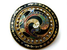 Antique Enamel Metal Button Brass Victorian Steel Large Cloisonne Champleve | eBay